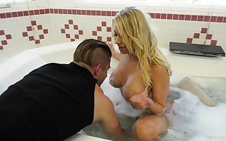 Hot bachelor mammy Katie Morgan seduces young taking plumber