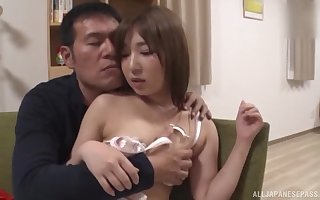 Amateur fucking on the floor with a natural tits Japanese girl