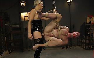 Latex bit of crumpet Helena Locke makes will not hear of usherette fall his concede cum